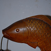 A Rare Old Carved Wood Fish, Carp Desk/Table Lamp