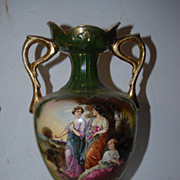 A Vintage Pair English Vases Floral / Figural Design