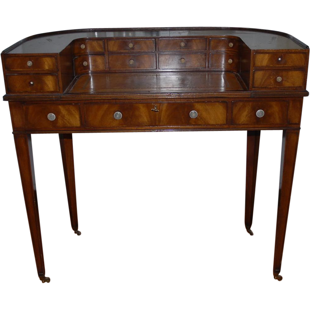 Mahogany Wood Desk ~ Antique english mahogany wooden ladies desk from