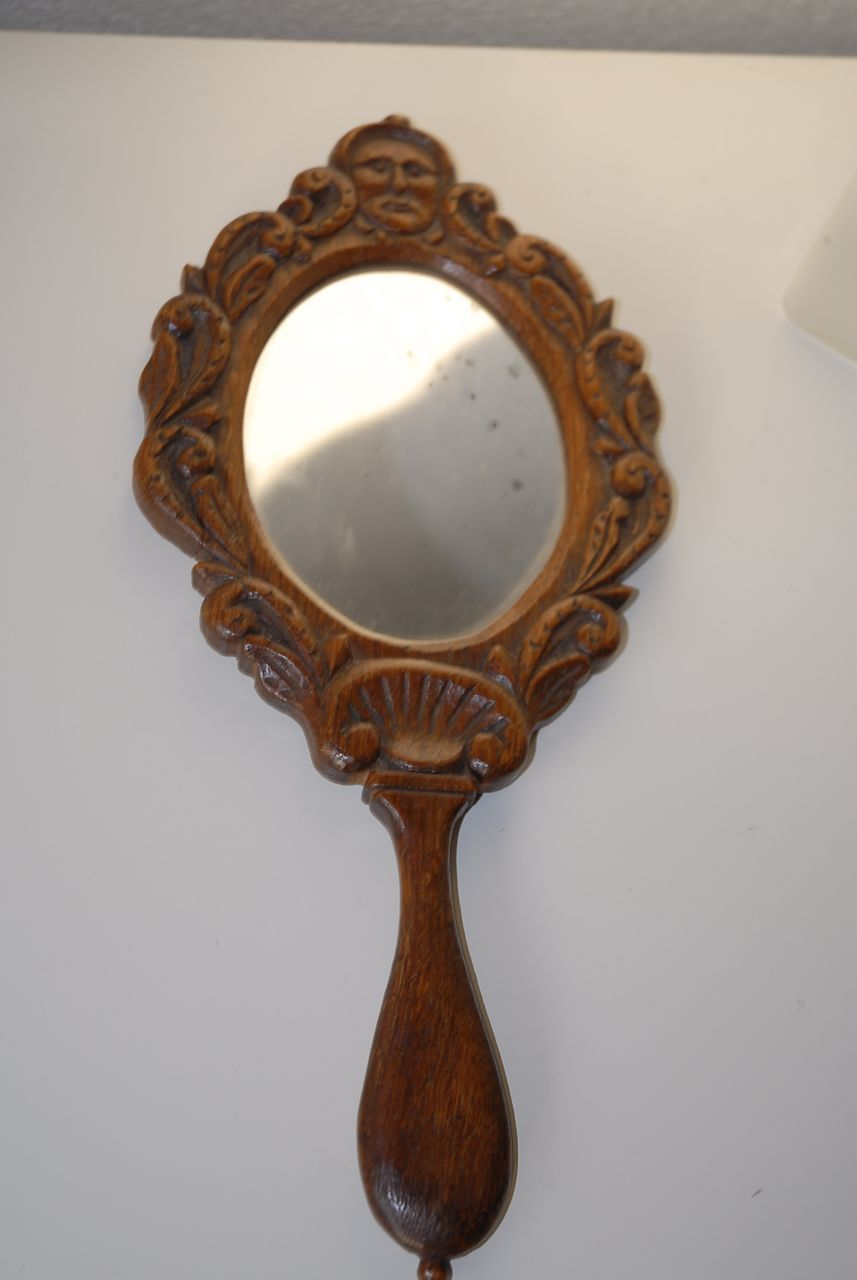 Lovely Antique Carved Wood Figural / Floral Hand Mirror ...
