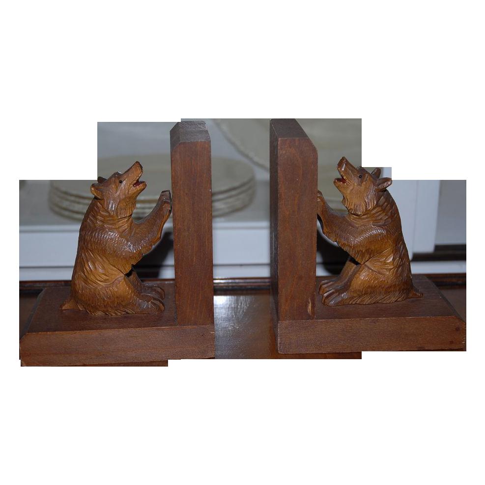 Wonderful Vintage Pair Black Forest Carved Wood Bear