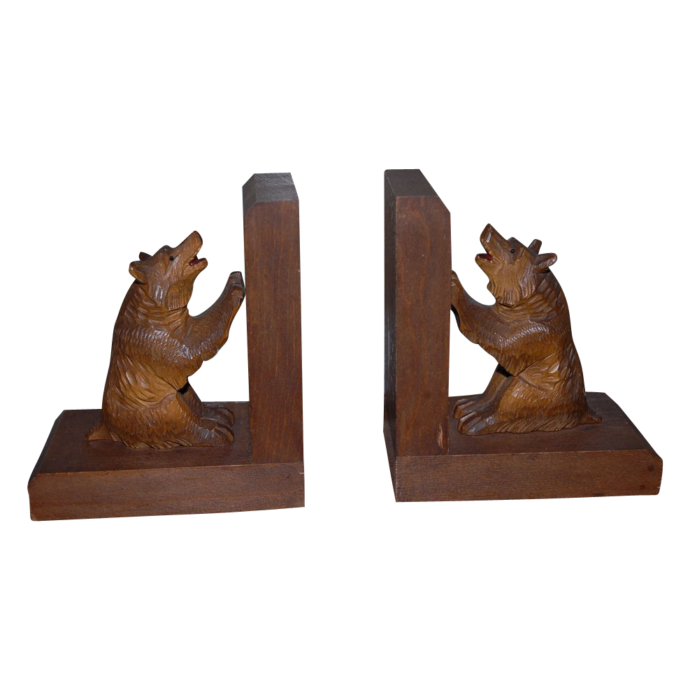 Wonderful Vintage Pair Black Forest Carved Wood Bear Bookends