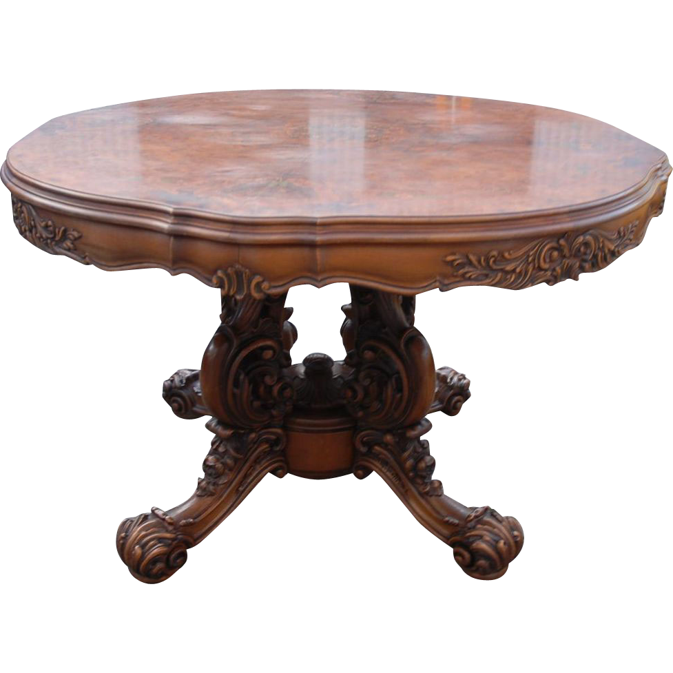 Gorgeous Italian Vintage Carved Wood(walnut) Baroque Style Round Center Dining Table