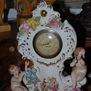 Lovely Vintage  Dresden Porcelain Floral Clock with Sweet Cherubs