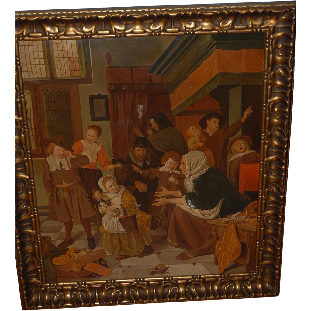 Large Oil Painting in Frame, The Feast of Saint Nicholas by Jan Steen