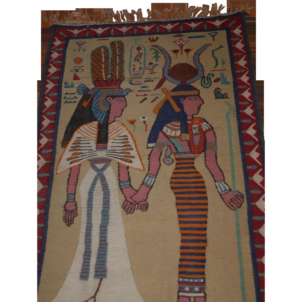 Unique Antique  Egyptian Carpet or Tapestry   Queen Nefertiti + Goddess Hathor