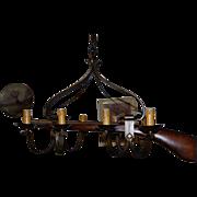 Rare Vintage Wrought Iron hunting Rifle Gun Rack Holder 8 light Chandelier
