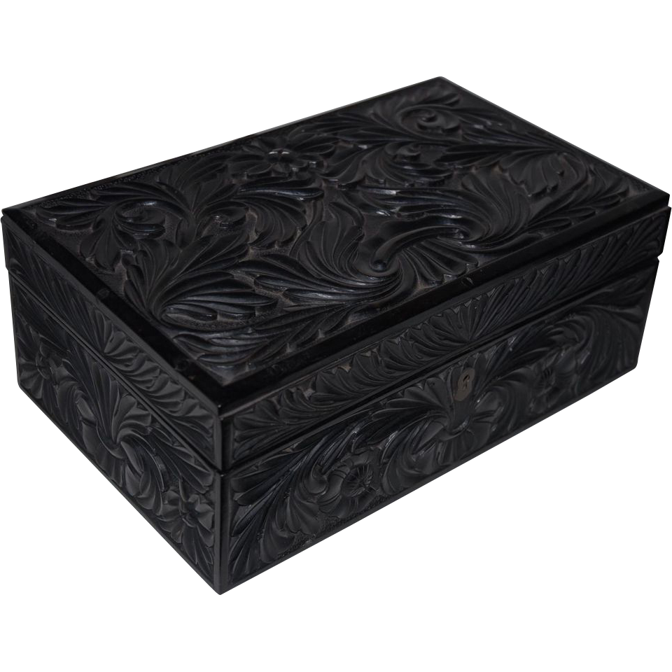 A Finely Quality Hand Carved Ceylonese Ebony Box Case , CEYLON