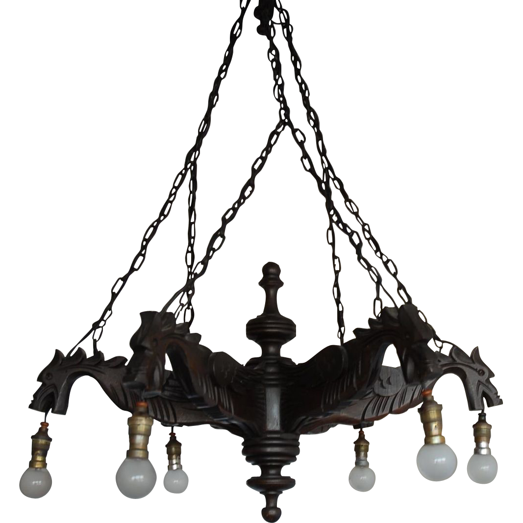 Gorgeous  Fine Carved Wood Gothic Art Renaissance Style 6-light Griffin Gargoyles Dragon Chandelier