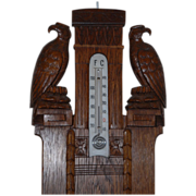 Antique Carved Wood  Wall Barometer with Eagle Pair on the Top