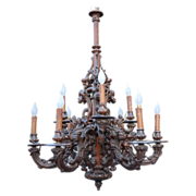 Fabulous Large Victorian era Black Forest 2 tier 9 light Rustic Style Chandelier