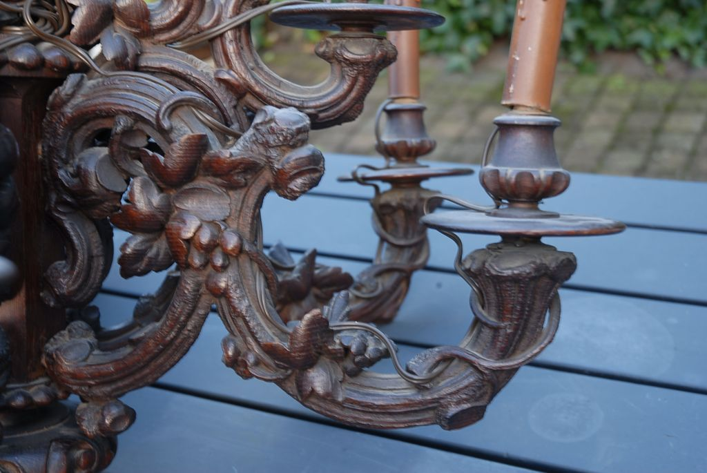 Large Victorian Era Black Forest 9 Light Rustic Style