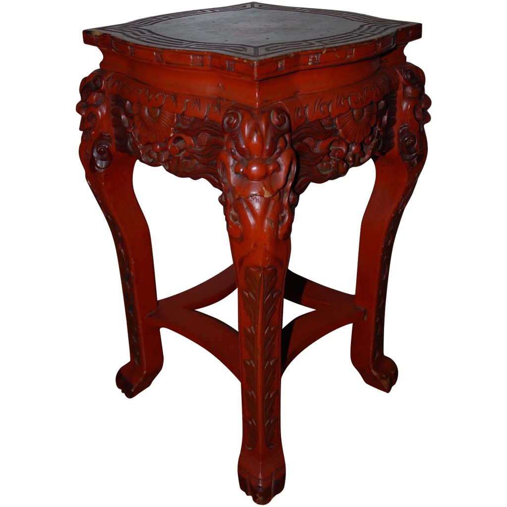 Unique Antique Japanese Carved Wood Red Table Stand with Dragon Motif