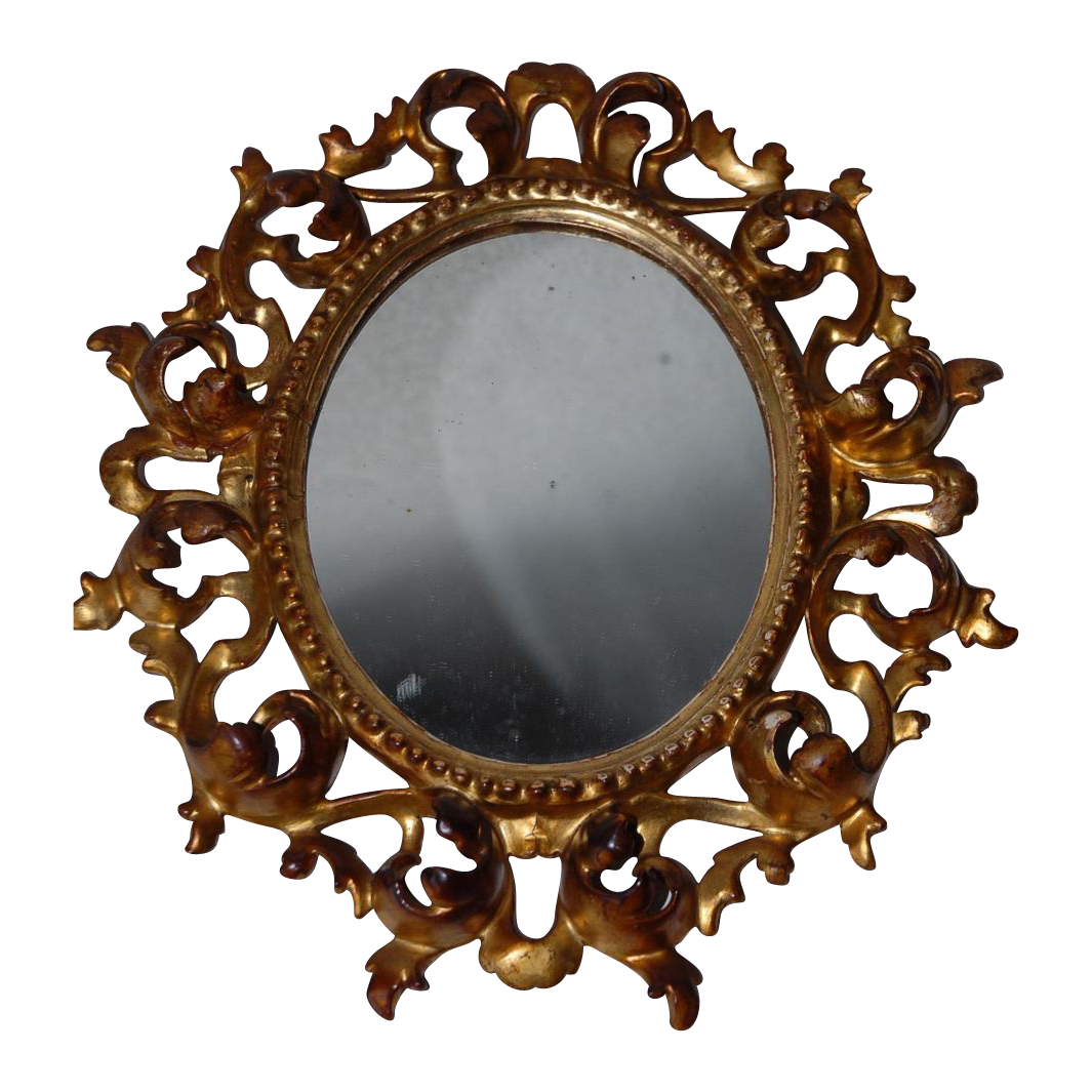 A Pretty Antique Italian  Mirror in a Gilded Carved Wood Scrolled Picture Frame