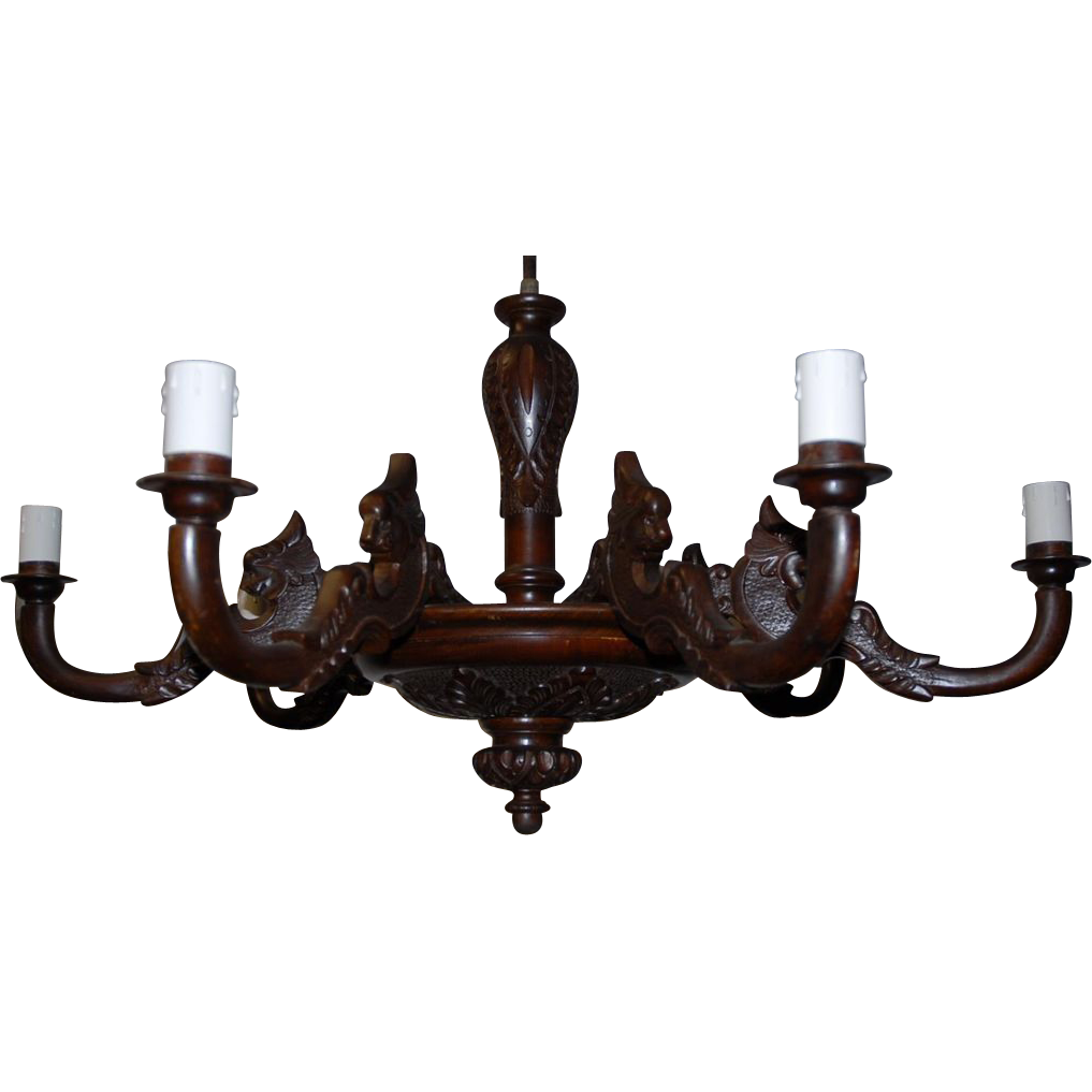 Huge Carved Wood Black Forest 7 light Chandelier with Lion Head