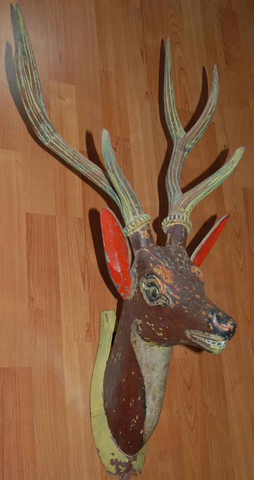 Early Fine Carved Wood Painted Deer Head Wall Plaque