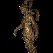 Huge Vintage Art Nouveau Bronze Figural Female Pair Hanging Oil Lamp