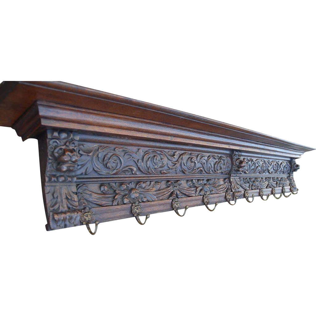 Large Fine Carved Wood Wall Coat-Rack