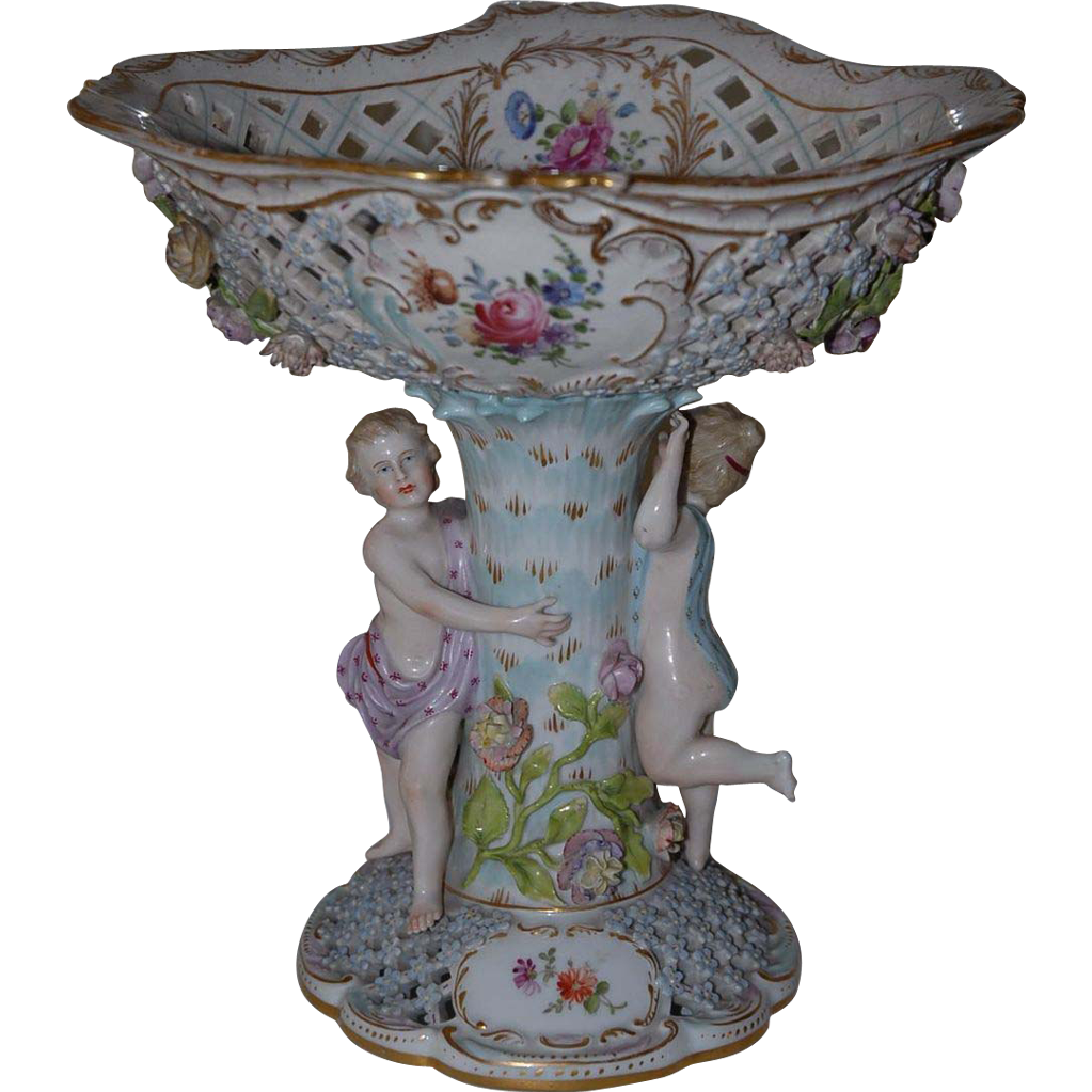 A Figural Floral  Porcelain Centerpiece Carl Thieme at Potschappel, Late 19th C.