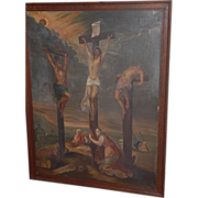 "Early Antique Large 45"" Painting "" The Crucifixion ""  Oil on Canvas"