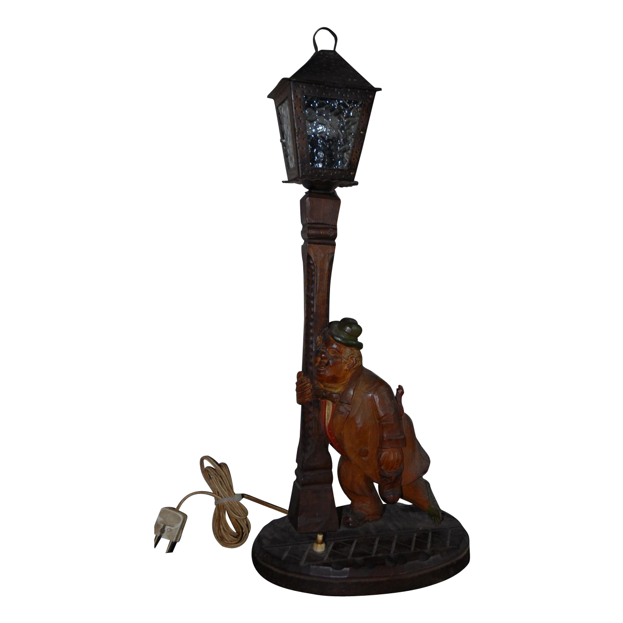Nice Quality Vintage Carved Wood Best Black Forest Figural Table or Desk Lamp Stand