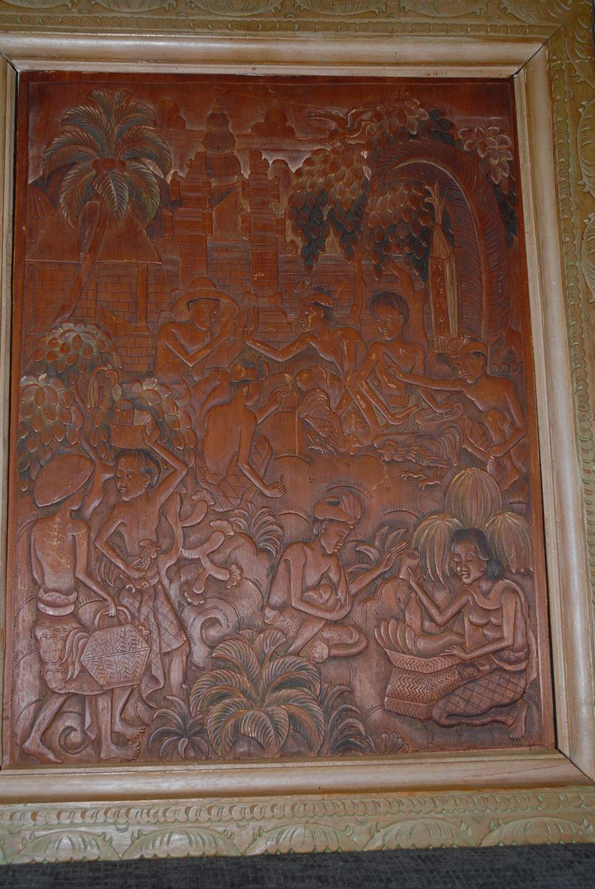 Bali Cock fight, Carved Wood Plaque  Ida Bagus Made Raka