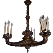 antique bronze Empire Style 15-light chandelier is extremely rare, beautiful and desirable