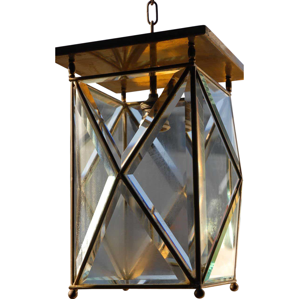 A Huge Antique Brass beveled Glass 1-light Hall Lantern