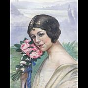 Art Nouveau - Deco Female Portrait Painting