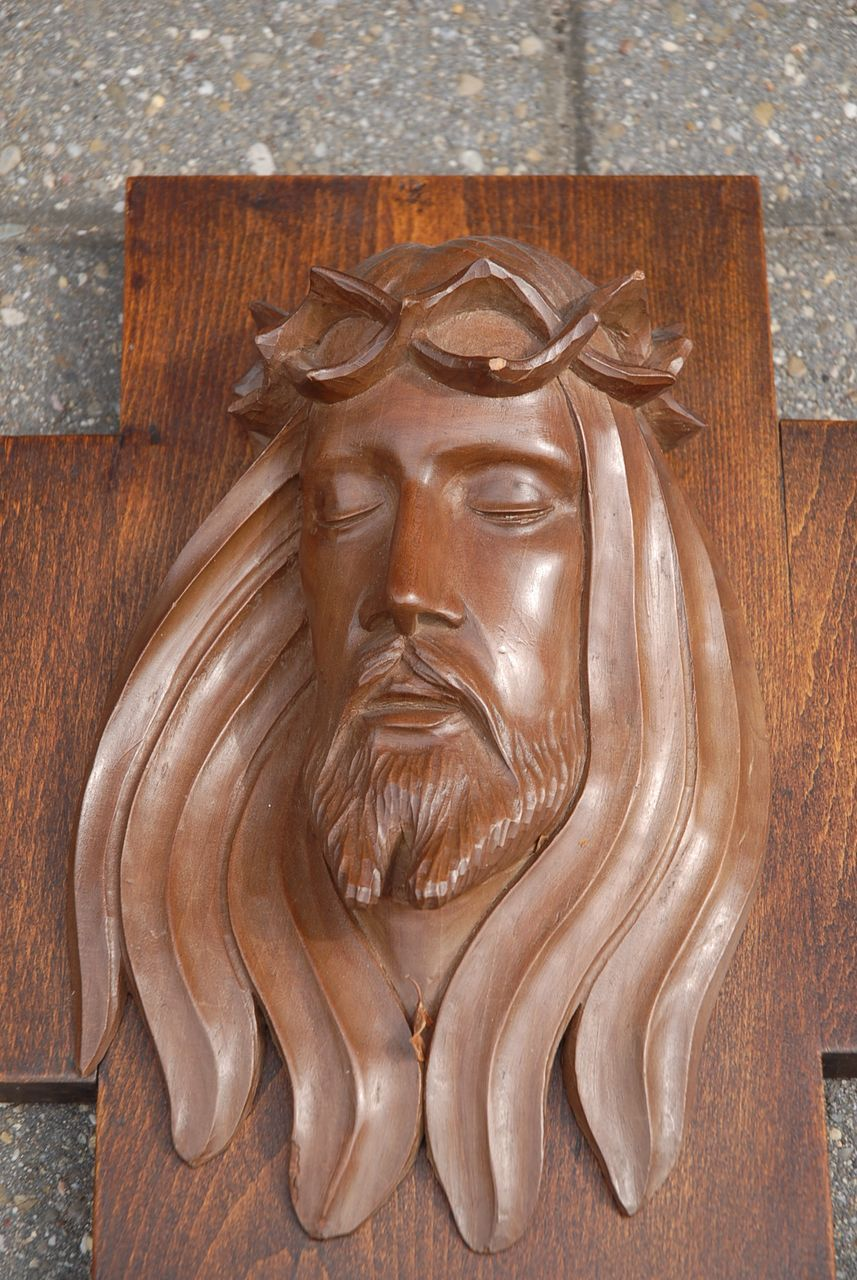 Crucifix carved wood cross jesus relief from