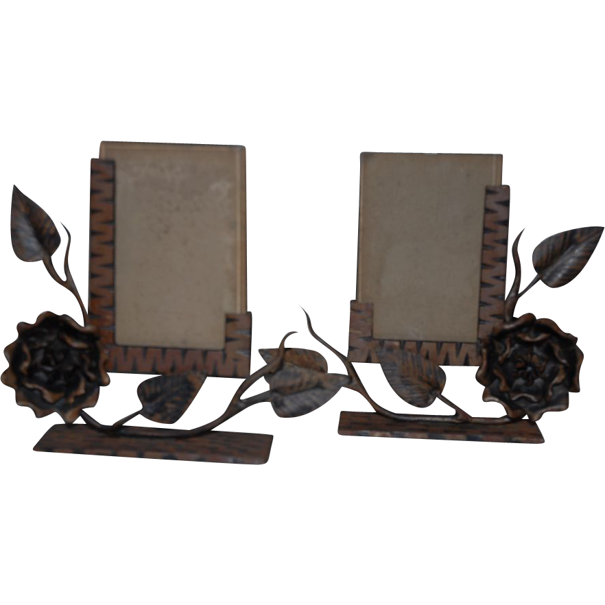 Pair Art Deco Wrought Iron Floral Picture Frames
