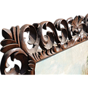 SOLD to Mary Ann ---Huge 18th Century Hand Made Carved Oak Wood Scrolled Wall Mirror or Picture Frame
