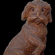 Rare Black Forest Carved Schnauzer Dog Hound Match Holder