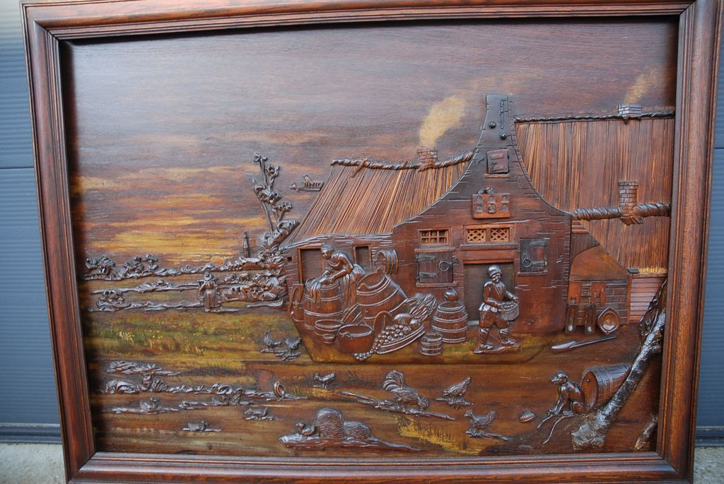 Large wall carved wood landscape plaque relief from farm