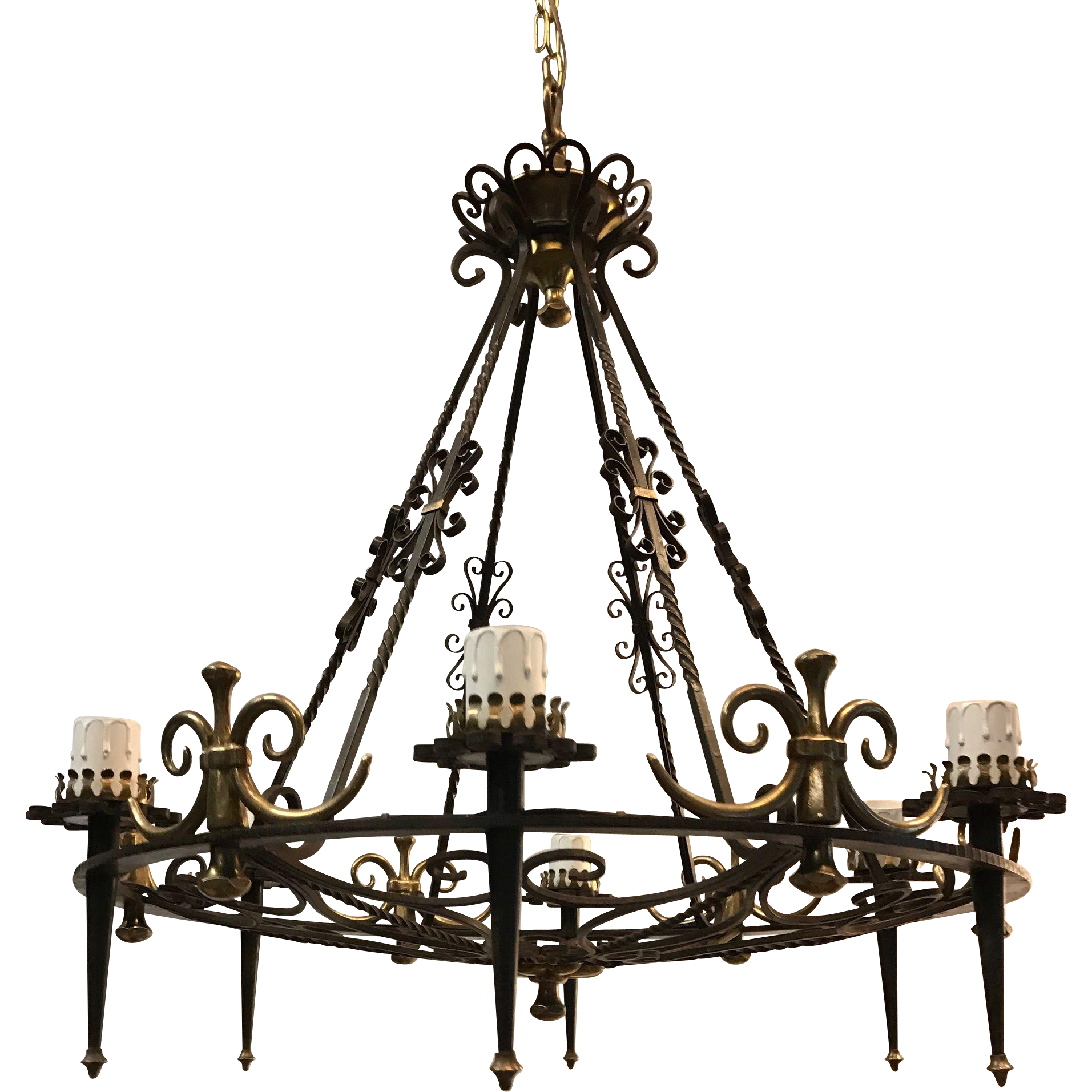 Large Matching Pair Wrought Iron Chandelier Bronze 6 light ...
