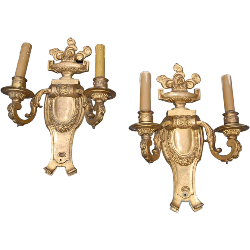 Huge Heavy Quality Gilt Bronze Wall Sconces Pair Lights Louis XVI