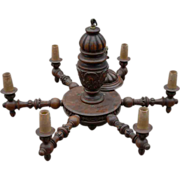 Walnut Chandelier Huge Antique Finest Carved Wood 6-light Chandelier