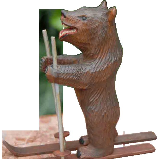 Antique Swiss Black Forest Carved Bear on Ski