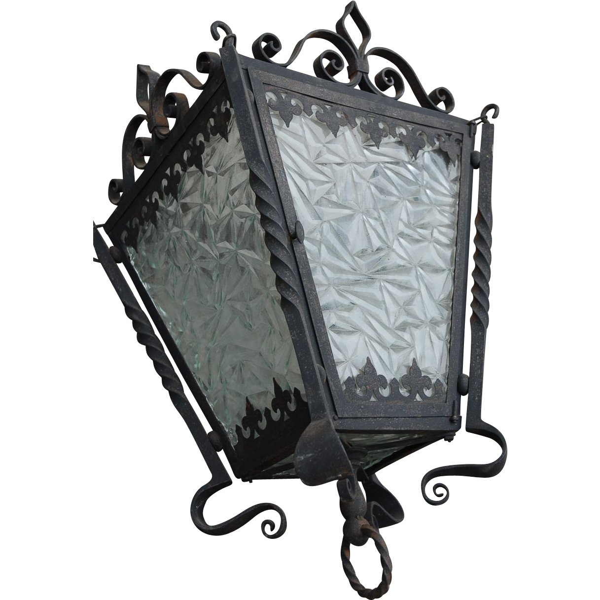 Lantern Huge Vintage Wrought Iron / Geometry Glass Lantern