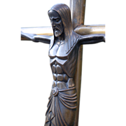 Rare Art Nouveau Patinated Bronze Stylized Crucifix Christ Cross
