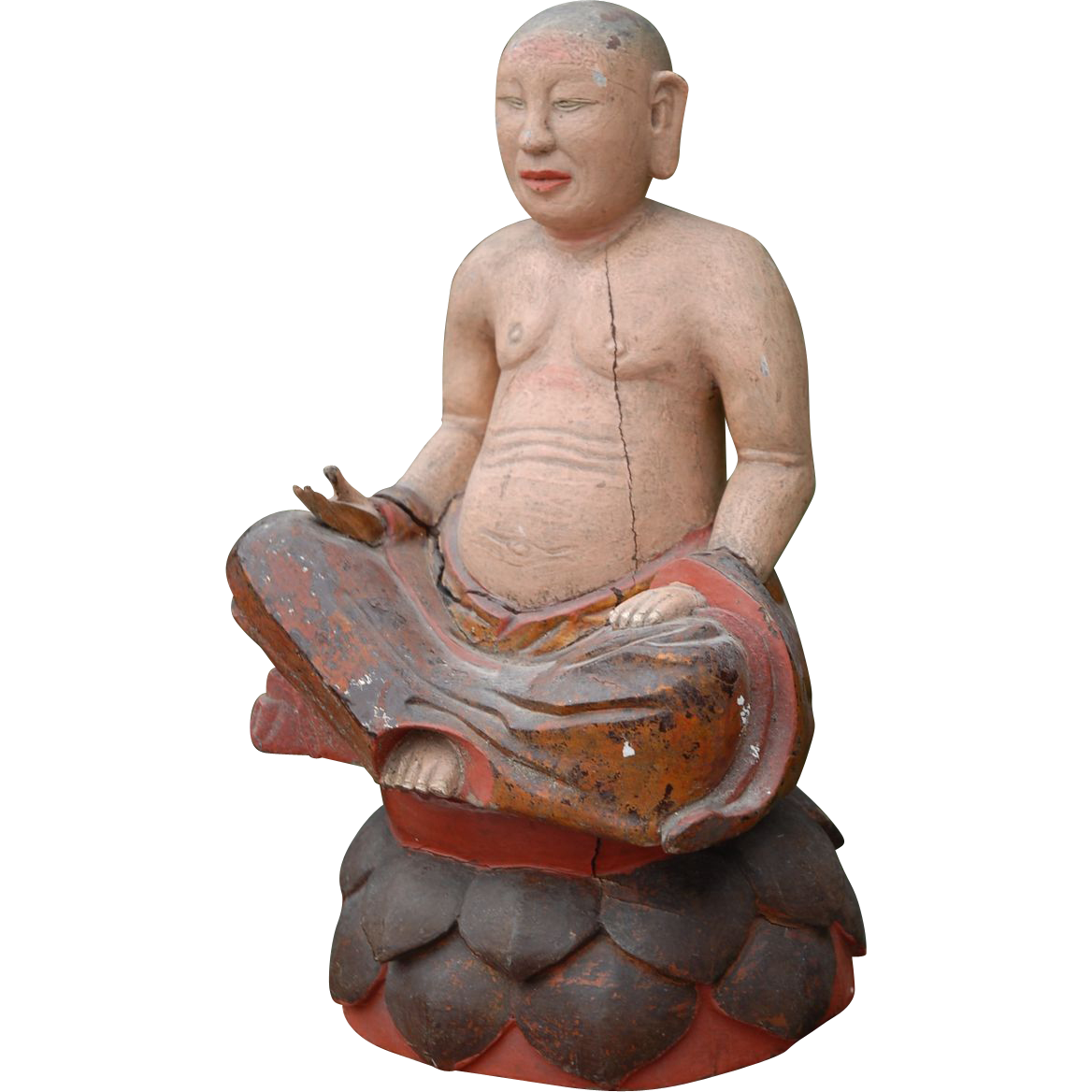 Antique Polychrome Wooden Buddhist Monk Sitting on Lotus