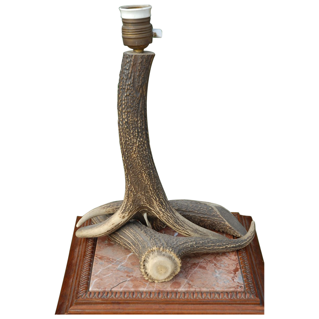 Vintage Antler Hunting Table Lamp