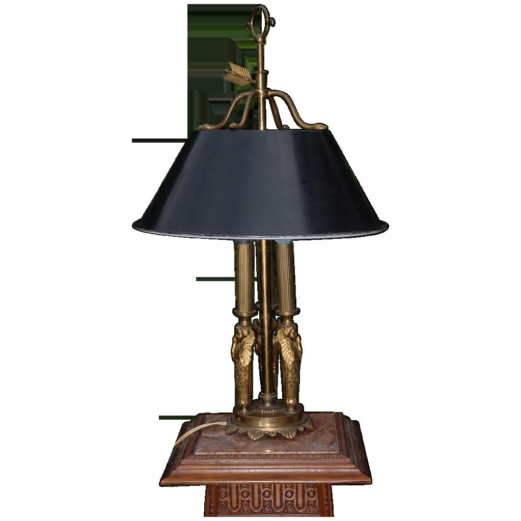 Vintage Empire Style Bronze Toleware Bouillotte Lamp