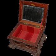 Beautiful Folk Art Carved Wood Tramp Art Box