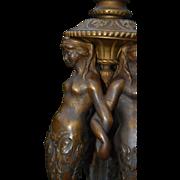 Rare Bronze Satyrs Fauns Figural Tripod Base Candlestick Candelabra