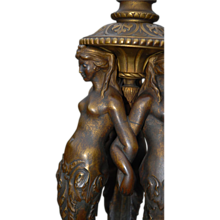 Reserved for Amber --- Rare Bronze Satyrs Fauns Figural Tripod Base Candlestick Candelabra