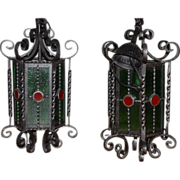 Gothic or Castle Look Lanterns Vintage Wrought Iron Pair Lanterns