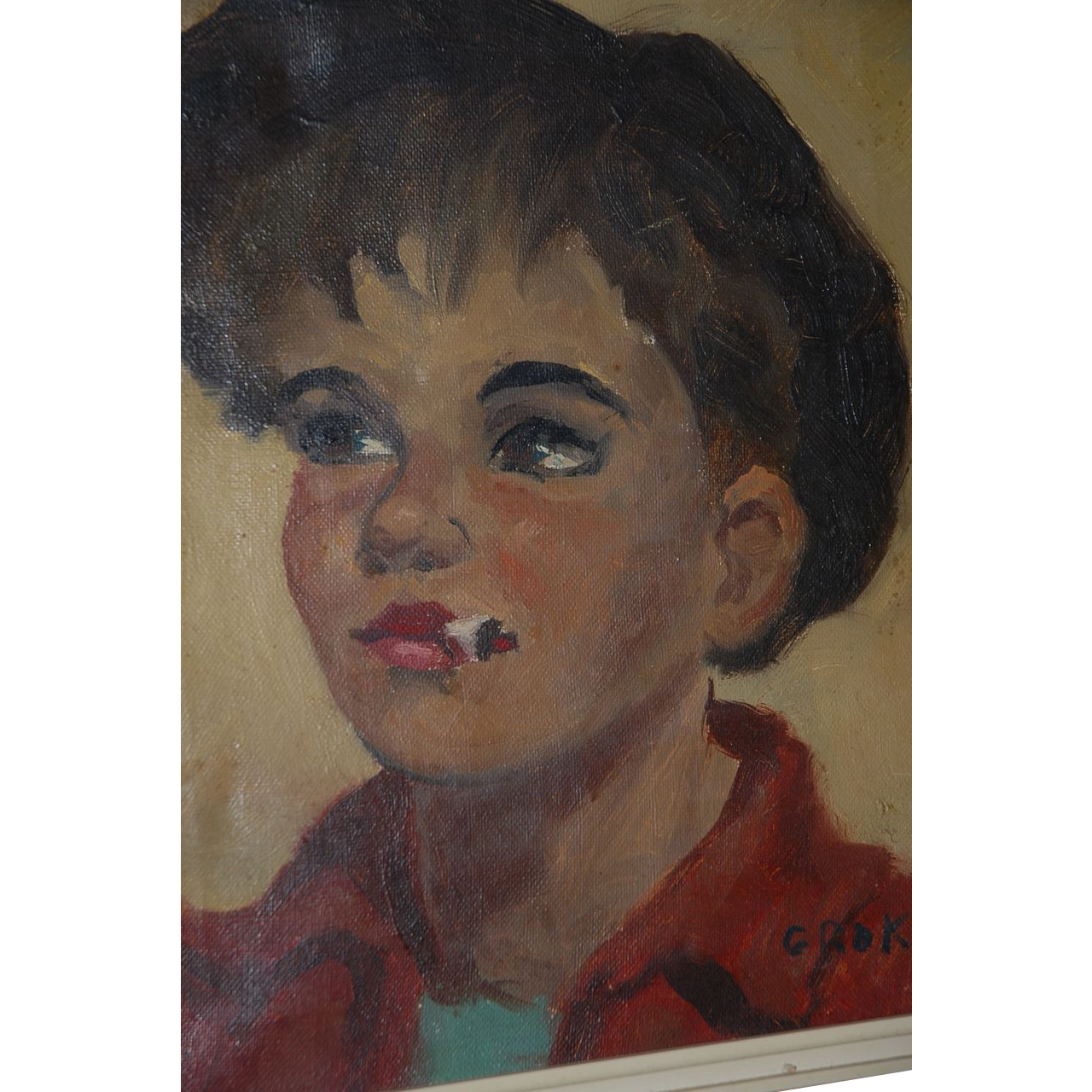 Nice Oil Painting on Canvas Boy with Cigarette Portrait