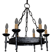French Vintage Wrought Iron 6-Light Chandelier