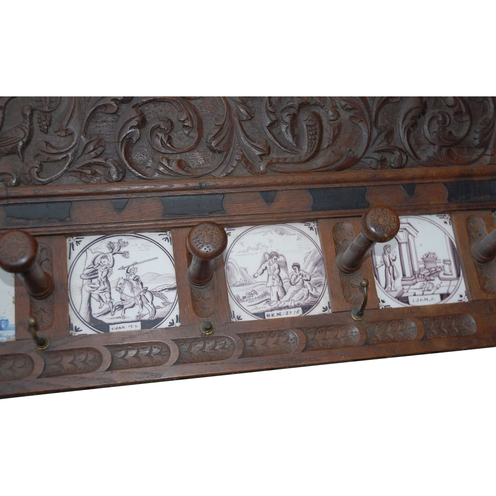 18thC. Antique Carved Wood(oak) Coat Rack with 6 Tiles, Biblical Scene